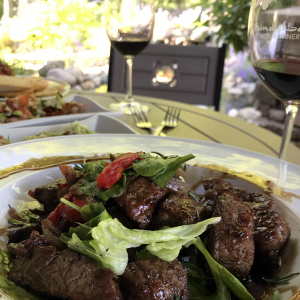chislec steak tips at Round Lake Vineyards Bistro