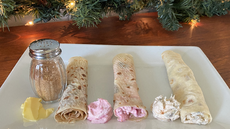 photo of three sheets of Norwegian lefse made from this recipe