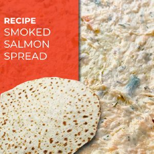 photo of salmon spread on lefse reading 'recipe for smoked salmon spread'
